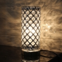 1 Light Inserted Crystal Night Lamp Modern Silver Cylinder Bedroom Night Table Light