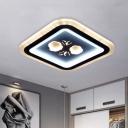 Modern Square/Round Flushmount Light Acrylic LED Corridor Flush Ceiling Lamp in Black with Flower Pattern