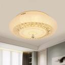 Gold LED Flush Mount Light Modern Clear Crystal Block Round Flushmount Lighting for Bedroom