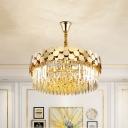 9 Heads K9 Strip Crystal Chandelier Retro Polished Gold Drum Lounge Ceiling Pendant