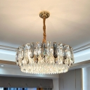 Layered Prismatic Crystal Chandelier Modernist 9-Light Chamber Suspension Lamp in Grey