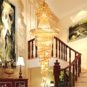 Spiral Crystal Chandelier Lighting Contemporary 14 Bulbs Stair Hanging Ceiling Light in Gold