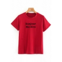 Leisure Red Letter Bonjour Maiden Print Short Sleeve Crew Neck Relaxed Fit T-Shirt