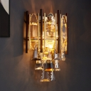 2 Lights Wall Sconce Vintage Half Drum K9 Crystal Wall Mounted Lamp with Cone Drops in Black-Gold
