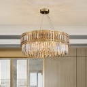 10-Bulb Circular Chandelier Traditional Gold Cut Crystal Pendant Light for Dining Room