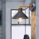 Industrial Cone Wall Mounted Lamp 1 Bulb Metallic Wall Sconce Light in Blue-Grey