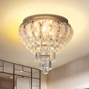 LED Flush Mount Lighting Traditional Bedroom Ceiling Light Fixture with Layered Clear Crystal Shade
