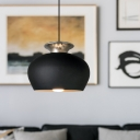 Industrial Cup Shaped Drop Light 1 Head Aluminum Hanging Ceiling Lamp in Black/White/Gold over Table