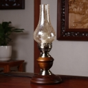 Nautical Kerosene Table Lamp 1 Bulb Clear Crackle Glass Night Stand Light in Red Brown