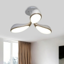 Modernist Oval Semi Flush Lamp Metallic 3 Heads Bedroom LED Close to Ceiling Lighting in White