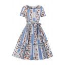 Girls All over Floral Geo Printed Short Sleeve Round Neck Bow Tie Waist Vintage Mid Pleated Flared Dress in Blue