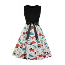Andrey Hepburn Style Mixed Dinosaur Print Panel Bow Tie Waist Sleeveless Round Neck Mid Pleated Swing Dress for Women