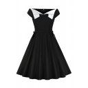 Black Vintage Short Sleeve V-Neck Bow Tie Patchwork Contrasted Midi Pleated Swing Dress for Women