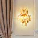 2-Light Tiered Quatrefoil Wall Light Antique Gold Crystal Panels Flush Wall Sconce for Chamber