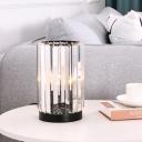 Single Barrel Shape Night Lamp Vintage Black Prismatic Crystal Table Light for Bedroom
