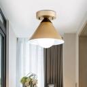 Minimalist Cone Flush Mount Metallic 1-Light Balcony Flush Ceiling Light Fixture in Gold