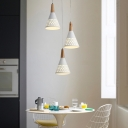 Conic Multi Light Pendant Minimalist Iron 3-Light White and Wood Down Lighting with Hollow Out Grid Design