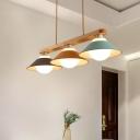 Dosa Shade Iron Island Pendant Light Macaron 3 Bulbs Blue-Grey-Yellow Hanging Lamp Kit with Wood Rod