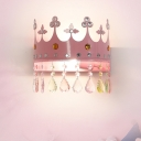 Cartoon Crown Shape Flush Wall Sconce Iron LED Girls Room Wall Mount Light Fixture in Pink/Gold with Crystal Drop Deco