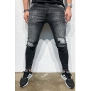 Cool Mens Mid Rise Ripped Contrasted Striped Bleach Ankle Skinny Jeans in Black