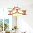 Cube Dining Room Hanging Lighting White Glass 1 Bulb Asian Style Ceiling Pendant Lamp with Wooden Squared Frame