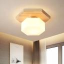 Milk White Glass Hexagon Flush Lighting Minimalism 1-Head Wood Ceiling Mounted Fixture