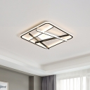 Acrylic Rounded Square Flush Light Contemporary Black LED Ceiling Flush Mount with Crossed Lines in Warm/White Light