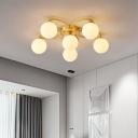 Modernism Orb Semi Flushmount Lighting White Glass 6 Heads Bedroom Flush Mount in Gold with Flower Design