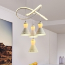 Acrylic Tapered Ceiling Lamp Contemporary 4 Heads White Cluster Drop Pendant with Twisting Deco for Bedroom