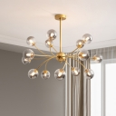 Postmodern Spherical Ceiling Chandelier Smoke Gray/Cognac Glass 15-Head Living Room Arced Suspension Light in Gold