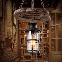 1 Light Pendant Light Fixture Factory Cylinder Clear Glass Down Lighting in Black with Circle Wood Shelf