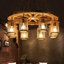 Wood Cylinder Chandelier Factory 8 Lights Dining Room Hanging Ceiling Light with Wheel Deco