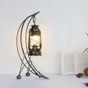 Clear Glass Lantern Desk Light Farmhouse 1 Head Bedroom Table Lamp in Brass with Arc Arm