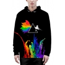 Designer Stylish Boys Long Sleeve Drawstring Squirrel Colorful 3D Pattern Pouch Pocket Relaxed Hoodie in Black