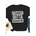 Popular Womens Roll Up Sleeve Crew Neck Letter STRAIGHT OUTTA QUARANTINE Print Contrasted Regular Fit T-Shirt