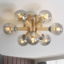 5/7-Bulb Bedroom Semi-Flush Mount Designer Wood Close to Ceiling Light with Orb Smoke Gray Dimpled Glass Shade