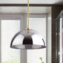 Semicircle Ceiling Pendant Light Simple Tan/Smoke Gray Mirror Glass 1-Bulb Gold Suspension Lamp