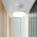 Simplistic Rotatable Circular Semi Flush Mount Metallic Hallway LED Ceiling Mounted Fixture in White/Grey