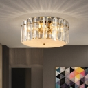Clear Crystal Block Drum Flush Light Modernism 4 Heads Bedroom Ceiling Mounted Lamp