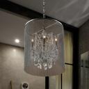 Black 6 Heads Hanging Chandelier Industrial Metallic Tassels Ceiling Lamp with Crystal Droplet