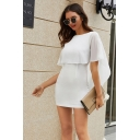 Elegant Ladies Formal Short Sleeve Round Neck Sheer Mesh Patched Asymmetric Mini Tight Work Dress in White