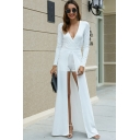 Ladies Elegant Boutique Long Sleeve Surplice Neck Skinny Romper & High Slit Front Maxi A-Line Dress Set in White