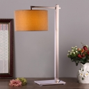 Straight Stainless Steel Table Light Traditional 1 Bulb Bedroom Nightstand Lamp with Brown Round Fabric Lampshade