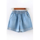 Street Summer Girls Elastic Waist Daisy Floral Embroidery Contrasted Relaxed Denim Shorts