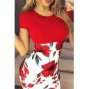 Popular Glamorous Ladies Short Sleeve Round Neck Flower Print Patched Short Bodycon T-Shirt Dress