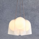 White Glass Cloche Pendant Light Postmodern Style 3 Lights Brass Ceiling Chandelier with Interior Orb Shade