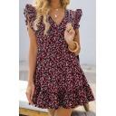 Glamorous Ladies Red Sleeveless V-Neck Ditsy Flower Printed Ruffled Trim Mini Pleated A-Line Dress