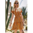 Fashionable Womens Short Sleeve V-Neck Stripe Printed Gathered Waist Ruffled Trim Mid A-Line Dress