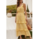 New Trendy Girls Sleeveless V-Neck Ditsy Floral Printed Ruffled Trim Tiered Maxi Pleated A-Line Cami Dress