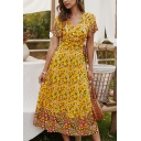 Womens Amazing Boho Short Sleeve Surplice Neck All Over Floral Pattern Bow Tie Waist Long A-Line Wrap Dress